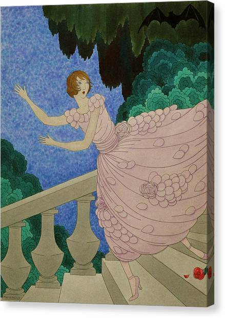 Illustration Of A Woman Running Down A Staircase Canvas Print