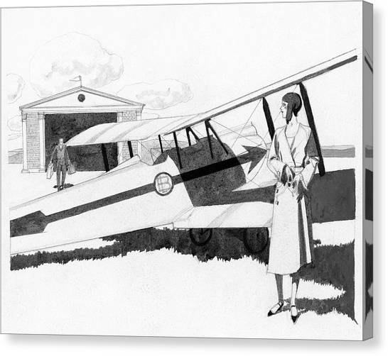 Illustration Of A Woman Standing Next To A Biplane Canvas Print