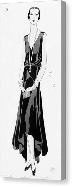 Illustration Of A Woman Wearing A Dress Canvas Print by Douglas Pollard