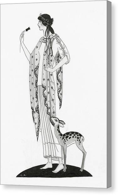 Illustration Of A Woman With A Deer Canvas Print