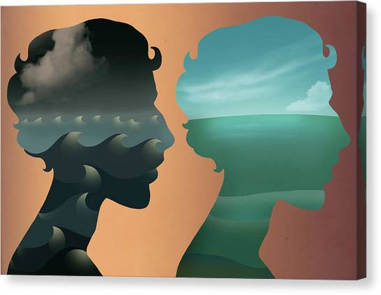 Calm Down Canvas Print - Illustration Of Comparison Between Two State Of Minds by Fanatic Studio / Science Photo Library