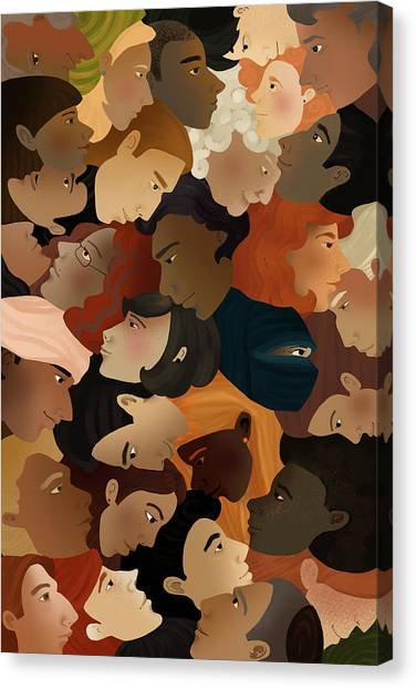 Illustration Of Crowd Canvas Print by Fanatic Studio / Science Photo Library