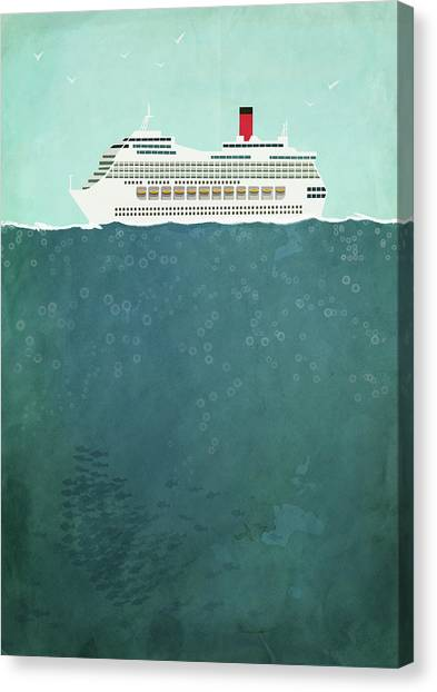 Illustration Of Cruise Ship Sailing On Canvas Print by Malte Mueller