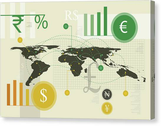 Yen Canvas Print - Illustration Of Currency Exchange Business by Fanatic Studio / Science Photo Library