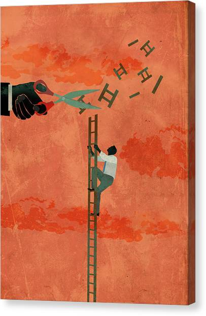 Critical Canvas Print - Illustration Of Determined Businessman Climbing Ladder by Fanatic Studio / Science Photo Library