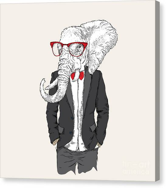 Clothing Canvas Print - Illustration Of Elephant Hipster by Sunny Whale