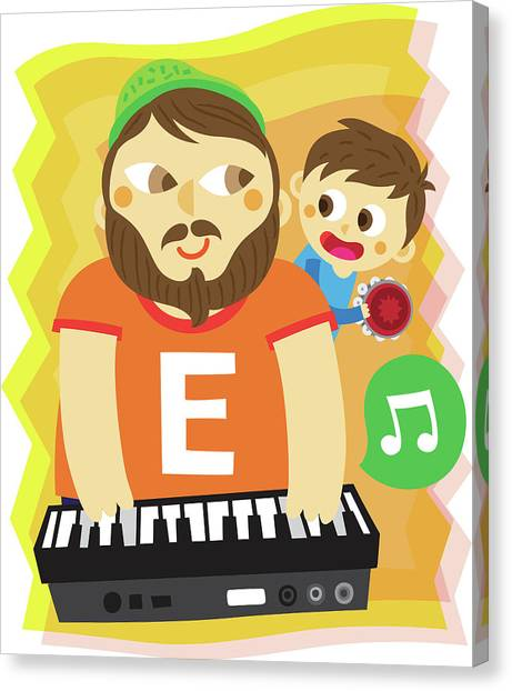 E.t Canvas Print - Illustration Of Father And Son Playing Musical Instrument by Fanatic Studio / Science Photo Library