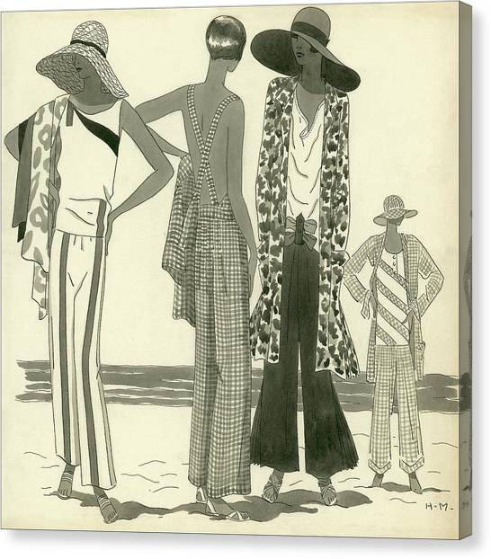 Illustration Of Four Women At A Beach Canvas Print by Harriet Meserole