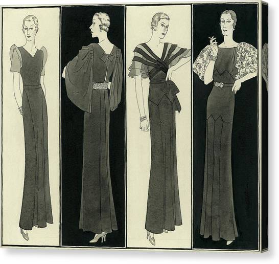 Illustration Of Four Women In Evening Dresses Canvas Print by Polly Tigue Francis