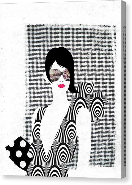 Checker Canvas Print - Illustration Of Glamorous Young Woman Over White Background by Fanatic Studio / Science Photo Library
