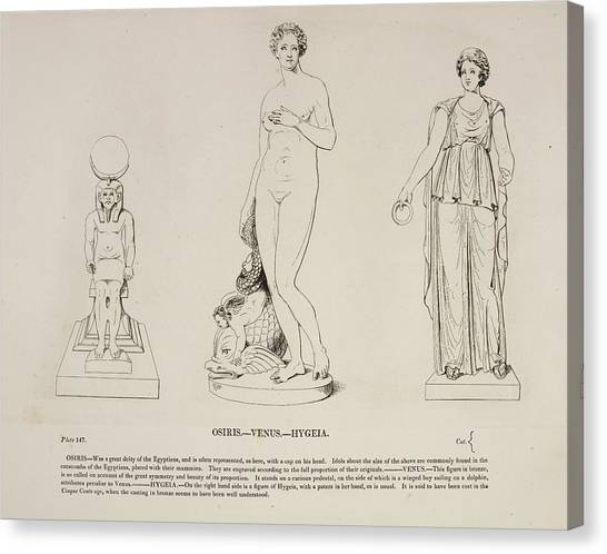 Principals Canvas Print - Illustration Of Human Figure Statues by British Library