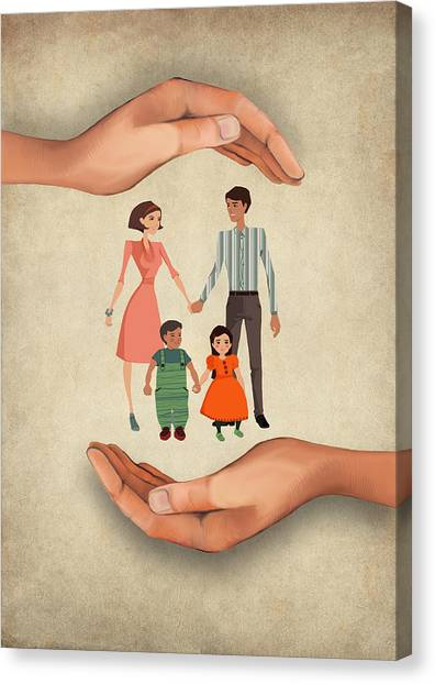 Health Insurance Canvas Print - Illustration Of Human Hands Shielding Family by Fanatic Studio / Science Photo Library