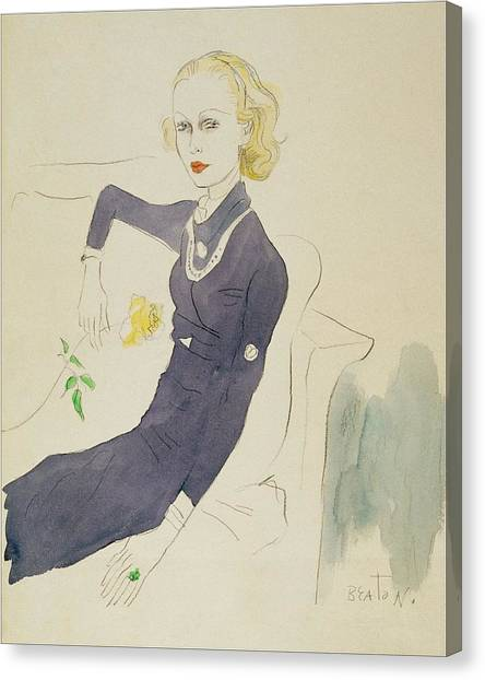 Indoors Canvas Print - Illustration Of Lady Abdy Sitting On Sofa by Cecil Beaton