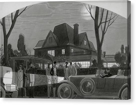 Illustration Of Men And Women Outside Of A Large Canvas Print