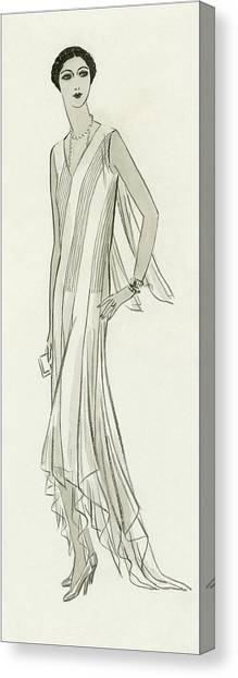 Illustration Of Mlle. Patino Wearing A Dress Canvas Print by Creelman