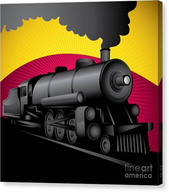 Old Train Canvas Print - Illustration Of Old Stylized by Radoman Durkovic