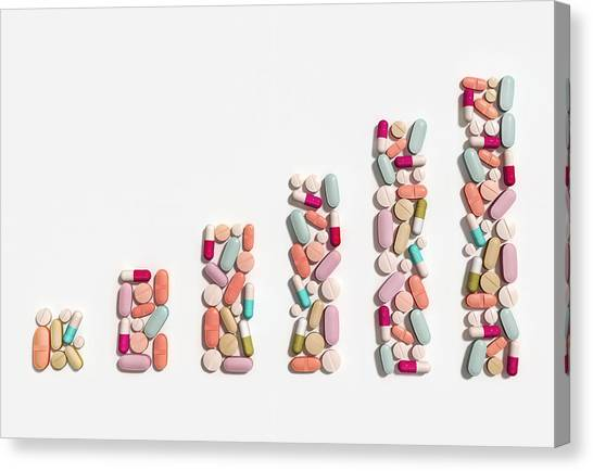 Illustration Of Rising Cost Of Prescription Drugs Canvas Print by Fanatic Studio / Science Photo Library