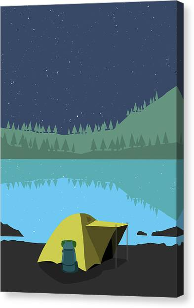 Illustration Of Tent At Lakeshore Canvas Print