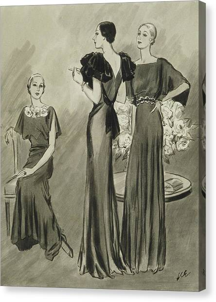 Illustration Of Three Models In Evening Gowns Canvas Print by Creelman