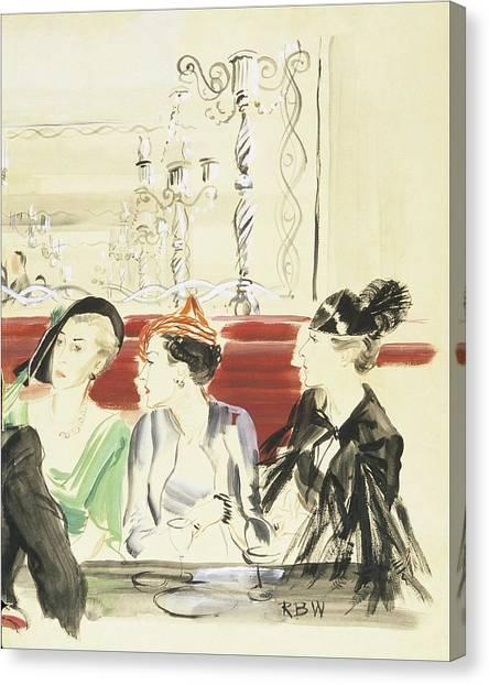 Illustration Of Three Women Wearing Designer Hats Canvas Print by Rene Bouet-Willaumez