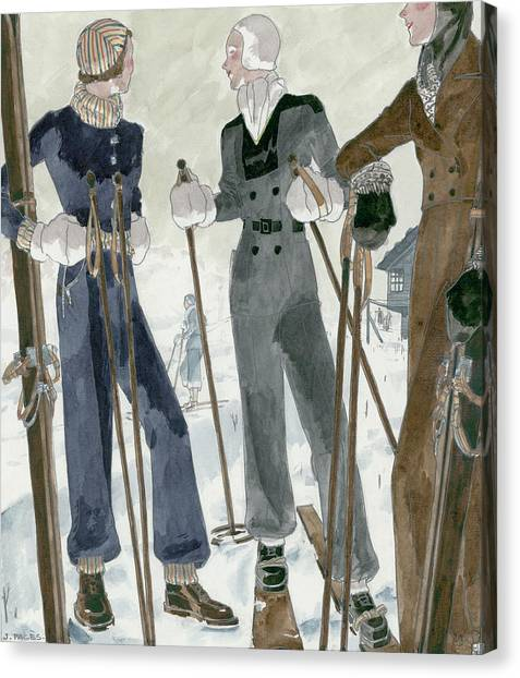 Sports Clothing Canvas Print - Illustration Of Three Women Wearing Ski Suits by Jean Pages