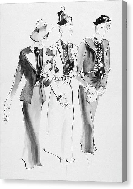 Illustration Of Three Women Wearing Skirt Suit Canvas Print by Rene Bouet-Willaumez