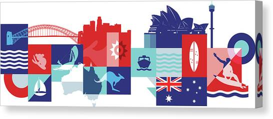 Illustration Of Tourist Attractions In Australia Canvas Print by Fanatic Studio / Science Photo Library
