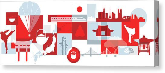 Bullet Trains Canvas Print - Illustration Of Tourist Attractions In Japan by Fanatic Studio / Science Photo Library