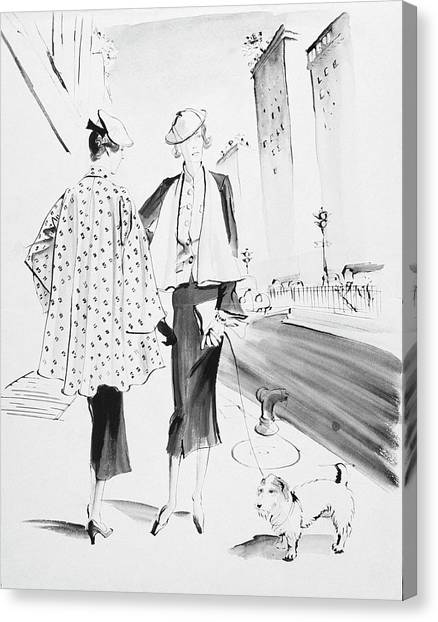 Illustration Of Two Fashionable Women Canvas Print by Rene Bouet-Willaumez