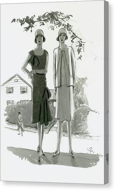 Illustration Of Two Women Standing In Shadow Canvas Print by Porter Woodruff