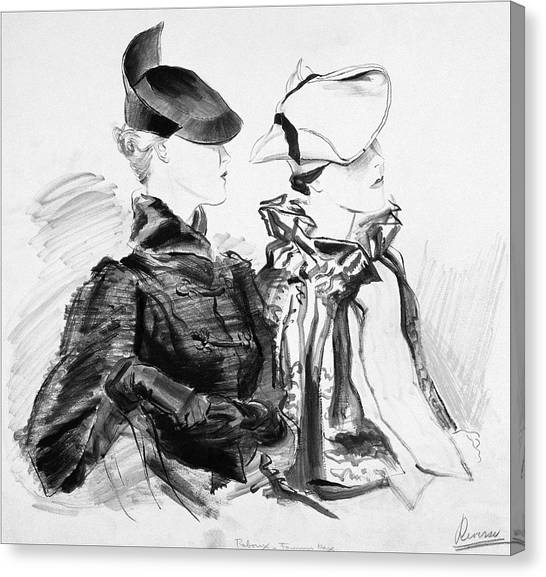 Illustration Of Two Women Wearing Berets And Capes Canvas Print by Rene Bouet-Willaumez