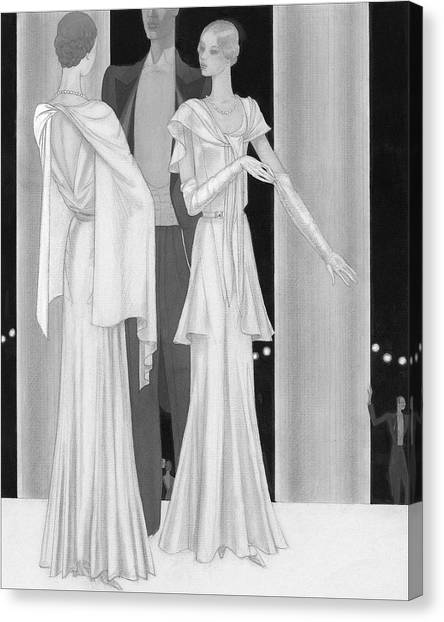 Illustration Of Two Women Wearing Evening Dresses Canvas Print