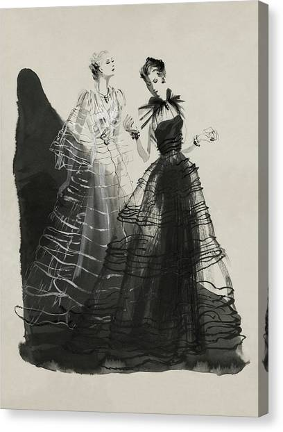 Illustration Of Two Women Wearing Evening Gowns Canvas Print