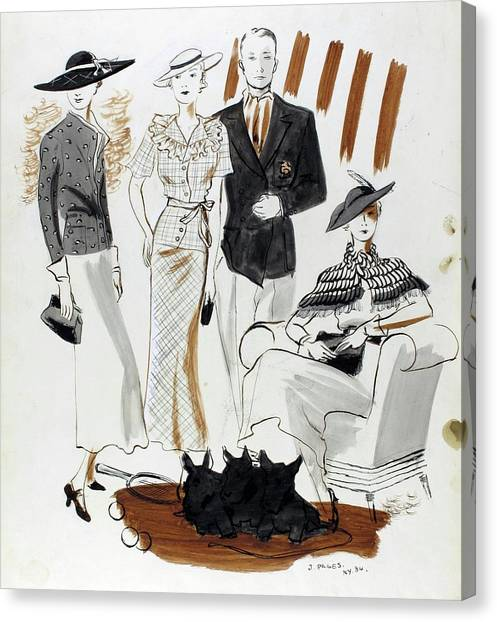 Illustration Of Women And A Man In Country Club Canvas Print by Jean Pages