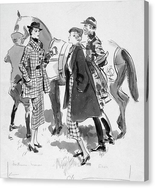 Illustration Of Women Standing In Front Of Racing Canvas Print by Francis Marshall