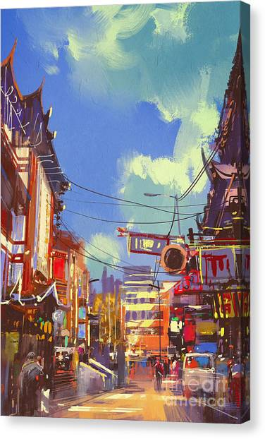 Illustration Painting Of Shopping Canvas Print by Tithi Luadthong