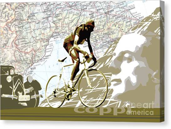 Tour De France Canvas Print - Illustration Print Giro De Italia Coppi Vintage Map Cycling by Sassan Filsoof