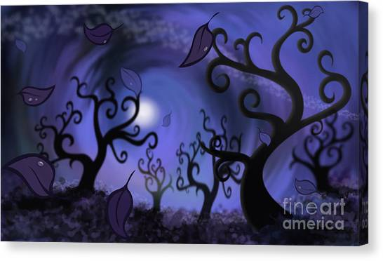 Canvas Print featuring the digital art Illustration Print Of Spooky Forest Of Curly Trees by Sassan Filsoof