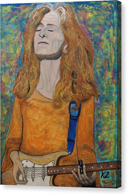 Slide Guitars Canvas Print - I'm In The Mood For Bonnie Raitt. by Ken Zabel