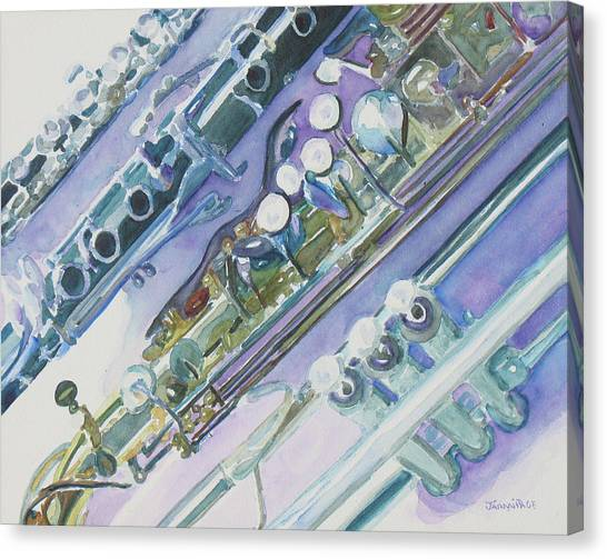 Wind Instruments Canvas Print - I'm Still Painting On The Keys by Jenny Armitage