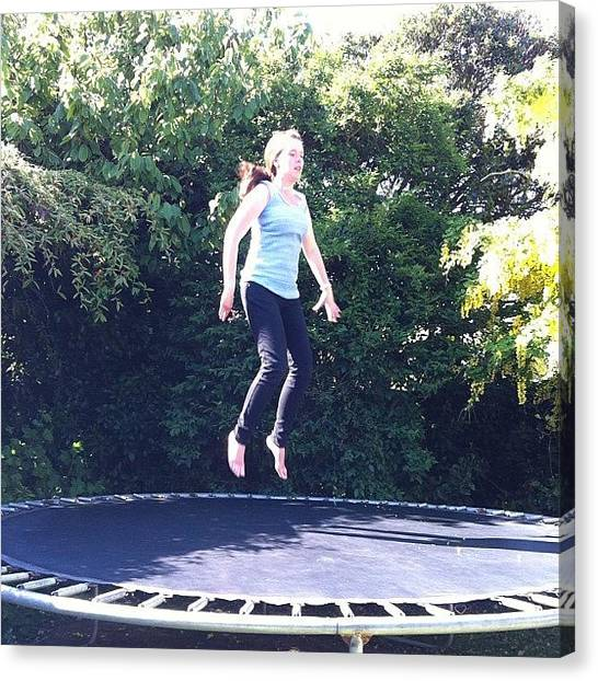 Trampoline Canvas Print - I'm Such A Big Kid! #bigkid #jumping by Rachel Ayres