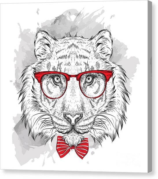 Teeth Canvas Print - Image Portrait Tiger In The Cravat And by Sunny Whale