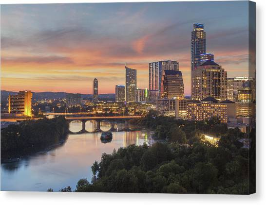 Austin Texas Canvas Print - The Austin Skyline On A Summer Evening 1 by Rob Greebon