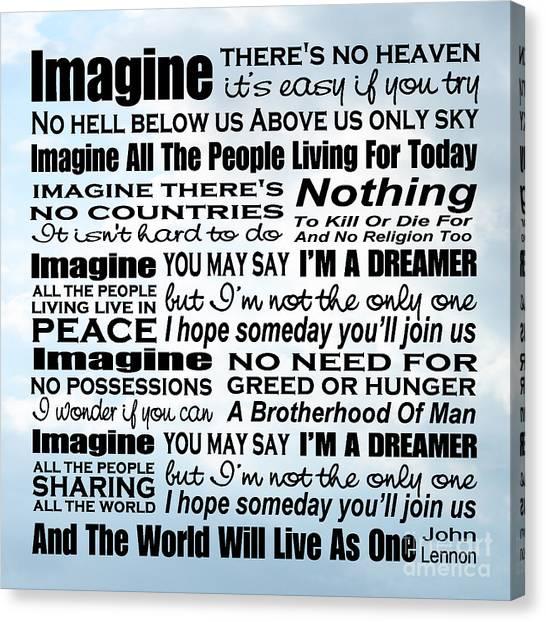 Imagine Song Lyrics - Sky Canvas Print