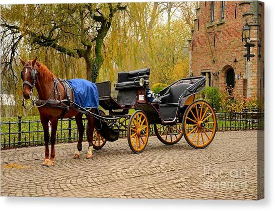 Immaculate Horse And Carriage Bruges Belgium Canvas Print