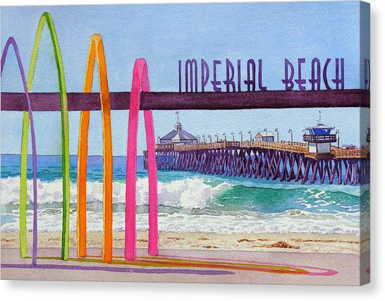 Surfboard Canvas Print - Imperial Beach Pier California by Mary Helmreich