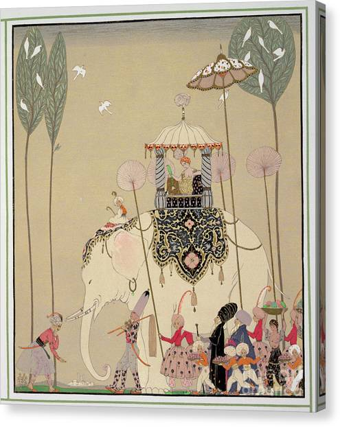 Happy Elephant Canvas Print - Imperial Procession by Georges Barbier