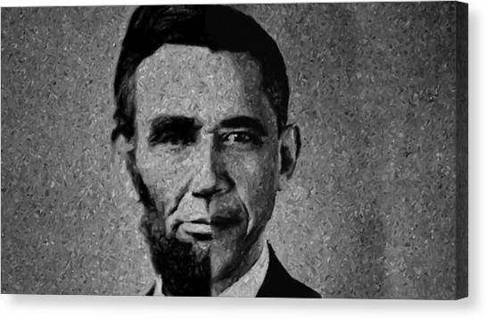 Impressionist Interpretation Of Lincoln Becoming Obama Canvas Print