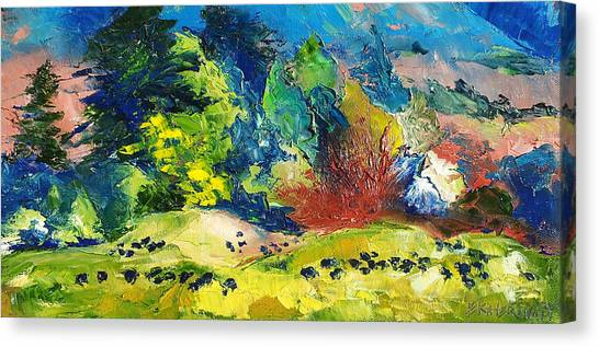 Impressionist Landscape With Cows Fine Art Oil Painting Canvas Print