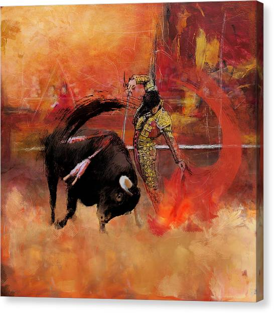 Bull Riding Canvas Print - Impressionistic Bullfighting by Corporate Art Task Force